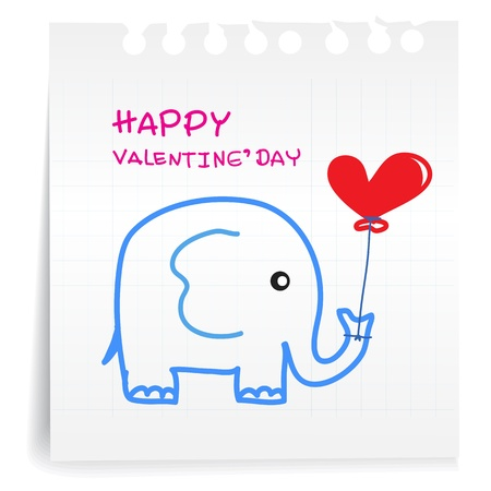 Hand draw Elephant cartoon Valentine_on paper Note Vector