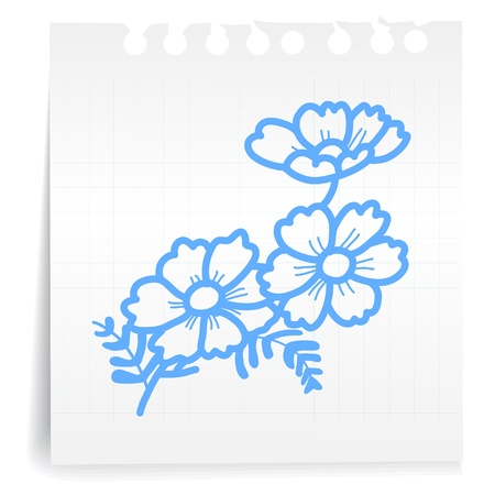 Hand draw Flower cartoon_on paper Note Vector