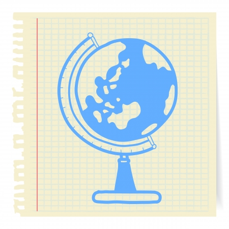 Hand draw globe cartoon_on paper Note Vector