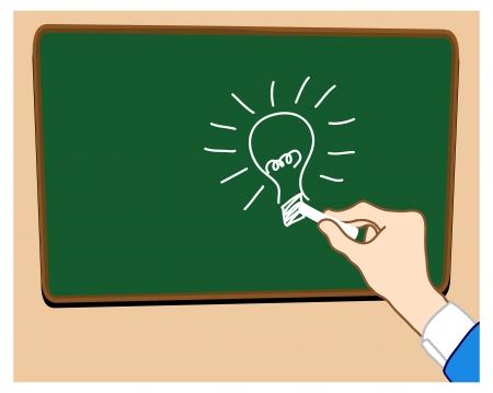 brainwash: Hand draw great idea cartoon_on whiteboard black