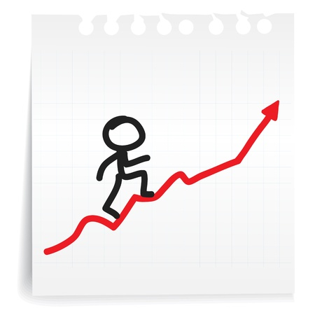 Hand draw humanoid  presents a business graph cartoon_on paper Note Stok Fotoğraf - 18957211