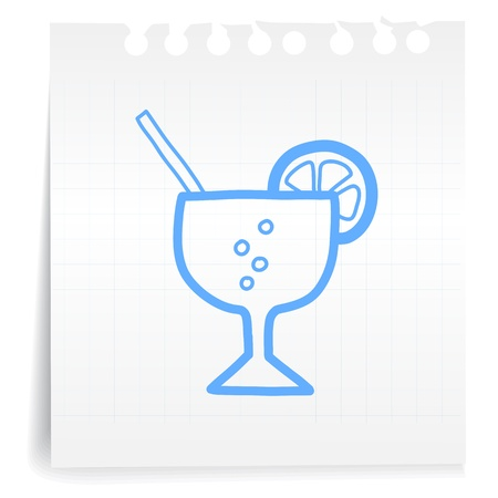 Hand draw lemon juice cartoon_on paper Note Vector