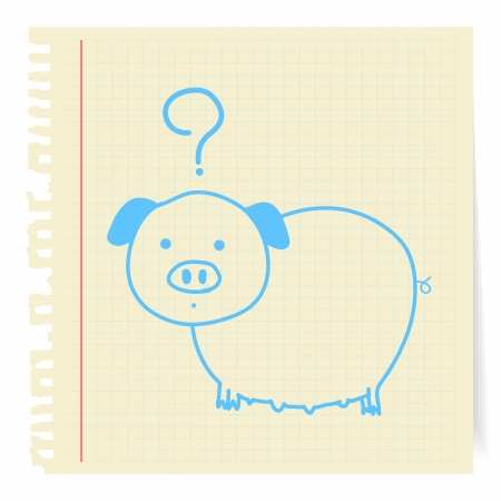 Hand draw Pig cartoon_on paper Note Vector