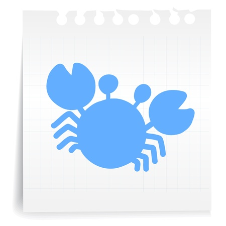 Hand draw Blue Crab cartoon_on paper Note Vector