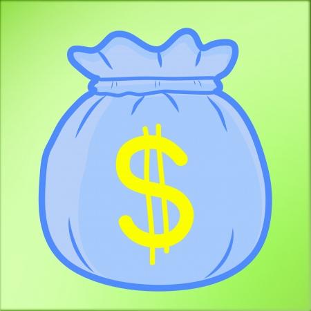 Hand draw Money Bag With Dollar cartoon Vector