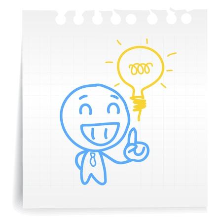 goed idee: De hand trekt mensen denken geweldig idee cartoon_on papier Opmerking