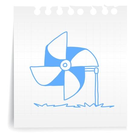 Hand draw wind turbine cartoon_on paper Note Vector