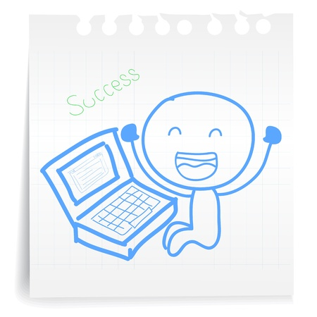 Hand draw working computer Success cartoon_on paper Note Illustration