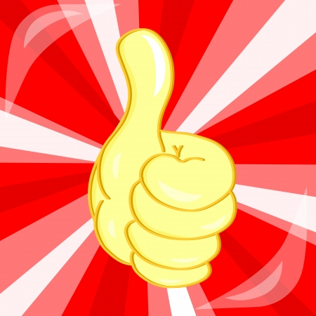 done: vector gold Very good hand gesture on red background Illustration