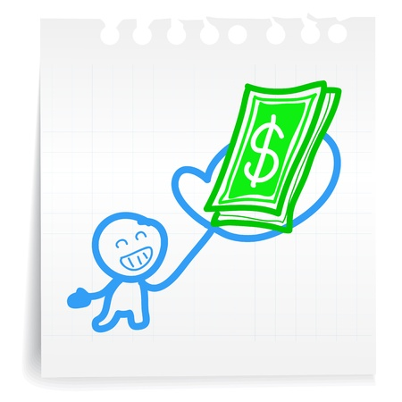cash book: Hand draw Get paid cartoon on paper Note
