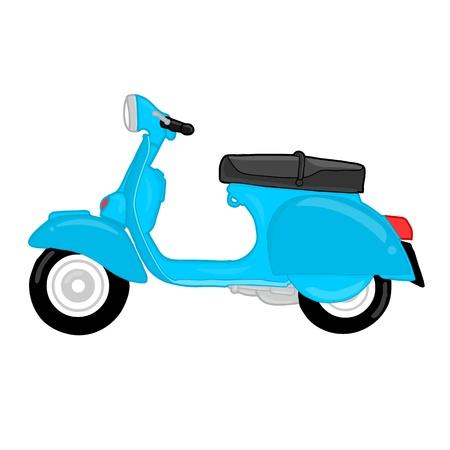 vespa piaggio: Disegnato a mano blu vespa cartone animato su sfondo bianco