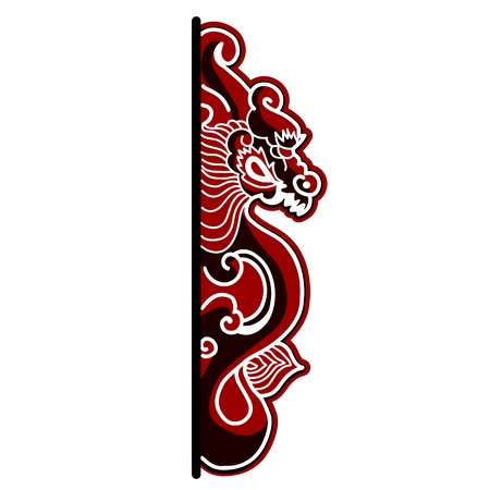 Hand drawn chinese dragon on white background