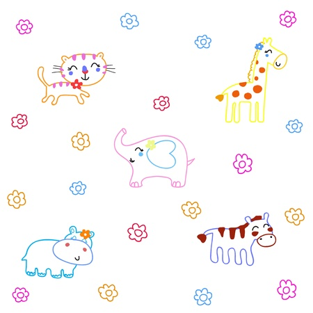 Hand drawn animals cartoon on White Background Vector