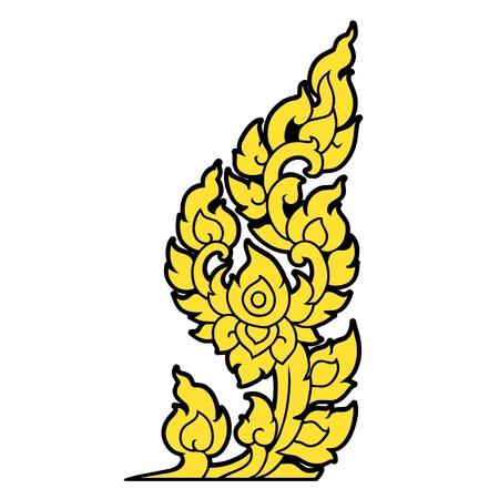 thai style: Hand drawn line Thai Art on white background Illustration