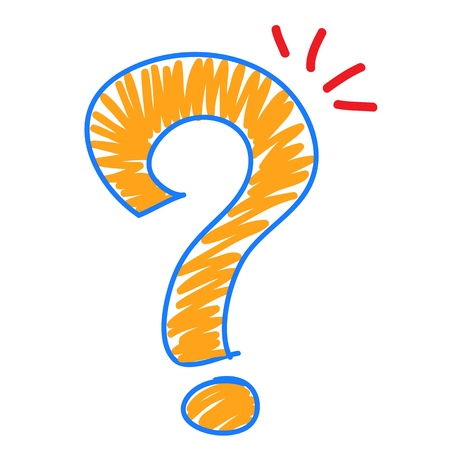 Hand draw Question mark on White background Illustration
