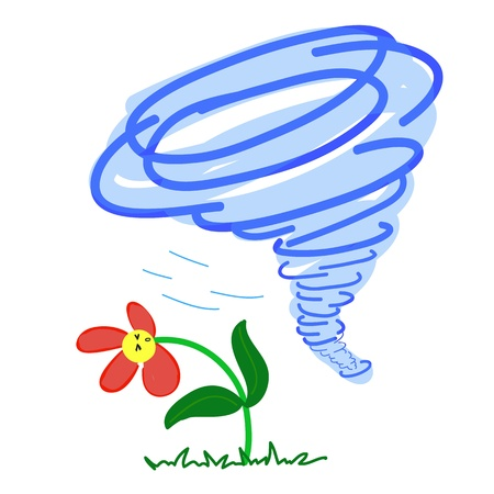 hurricane disaster: Flower in a Storm on White background Illustration