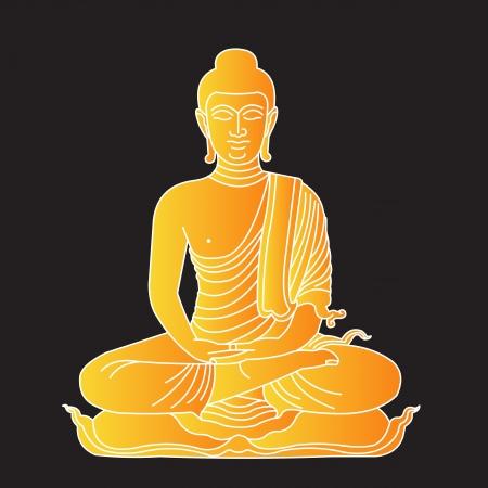 sacral: Illustratie van goud buddha