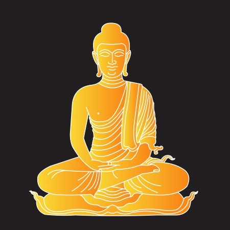 sacral: Illustration of gold buddha Illustration
