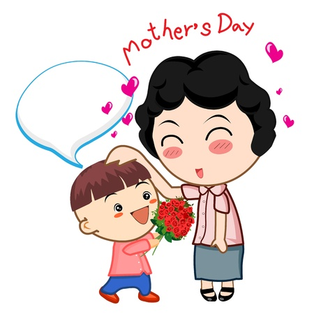 happy mother´s day card with cartoons