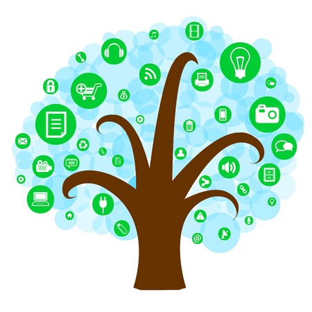 Social network tree with media icons on white background Vector