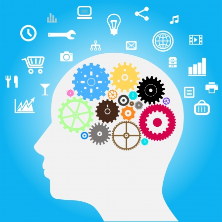 Head with gears and Social Media  networks