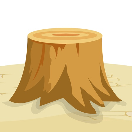 cartoon big tree stump with roots Vector