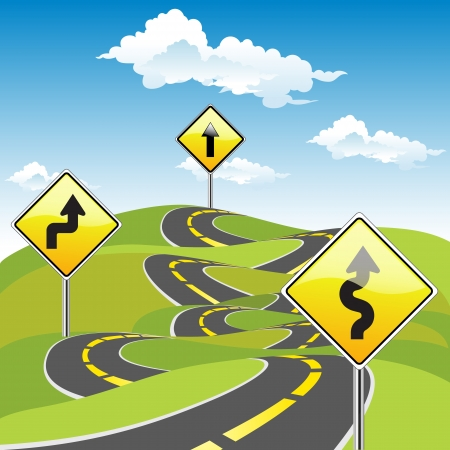 easy: Road Sign Ways  Business Concept Illustration