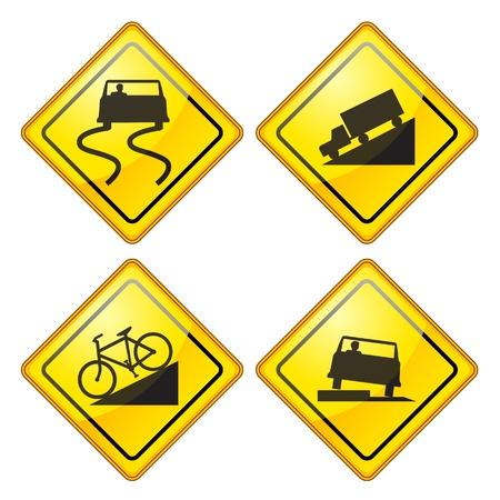 道路標識光沢のある警告のセット  イラスト・ベクター素材
