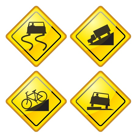 slippery warning symbol: set of warning Road Sign Glossy