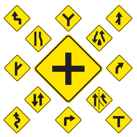 흰색 배경에 노란색 도로 표지판