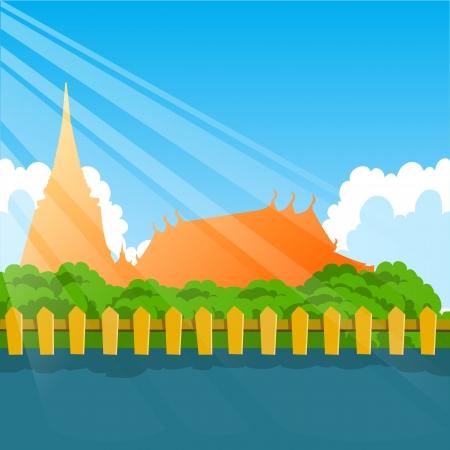 shapes cartoon: tailandia templo en el fondo