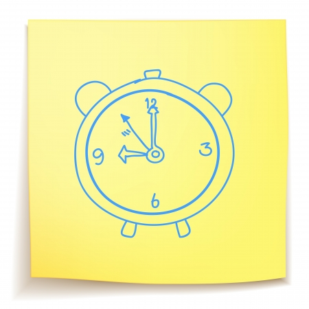 Hand drawn alarm clock on sticky note Vector
