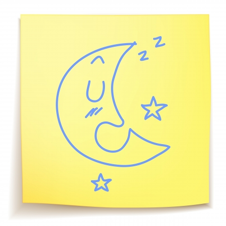 Hand drawn Sleeping moon on sticky note Stock Vector - 20459851