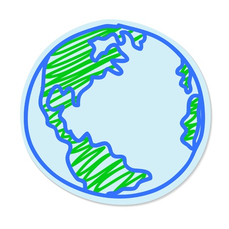 Earth Hand drawn sticker isolated on a white background
