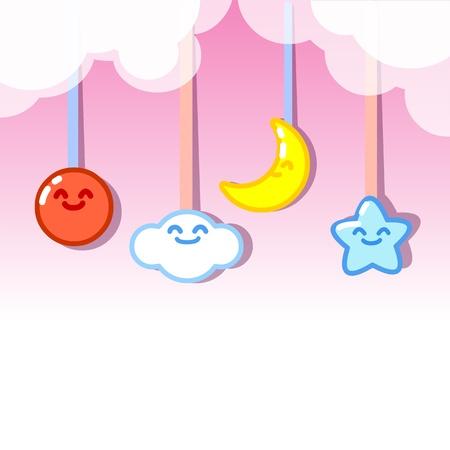 zon en maan: wolken zon, maan en sterren opknoping vector Stock Illustratie
