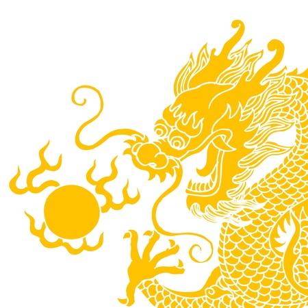 흰색 배경에 고립 된 중국 용
