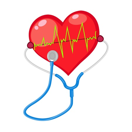 palpitation:  red heart check  shape with electrocardiogram  isolated on white background