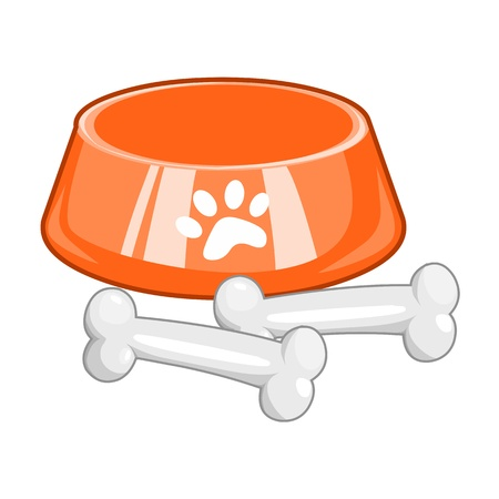 dog bowl with big bone isolated on white background Illustration