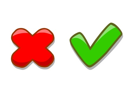 Right and wrong check mark signs on white background Vector