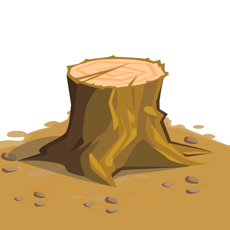 woodcutter: cartoon big tree stump with roots