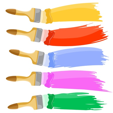 Colorful paint brushes leaving a horizontal trail