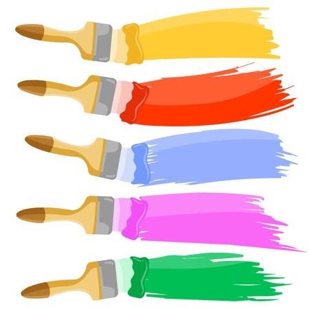수평 흔적을 남기지 다채로운 페인트 브러쉬