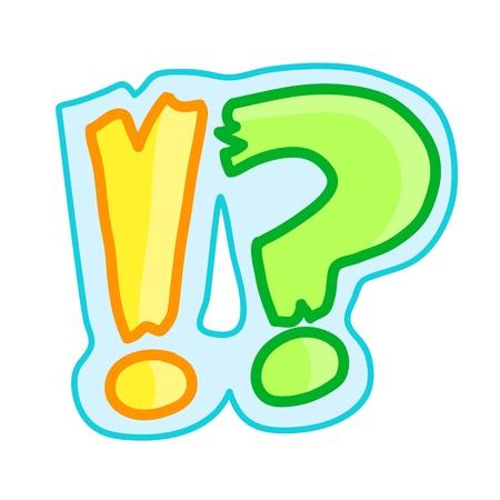 question mark: Ausrufezeichen und Fragezeichen niedlichen Cartoon Illustration