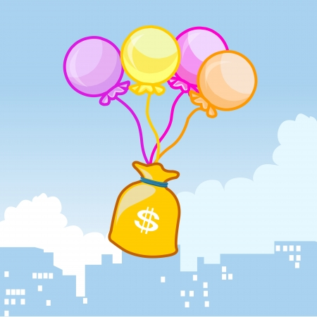 Balloons fly with a bag of money on sky Vector
