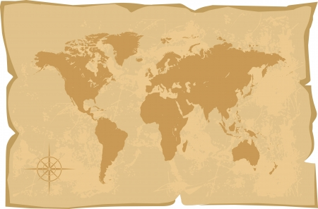 vintage world map: world map old style vector