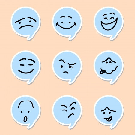 Discurso burbuja emoticon en el fondo blanco Foto de archivo - 20932914