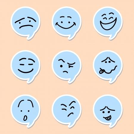 Speech bubble emoticon on white background Illustration