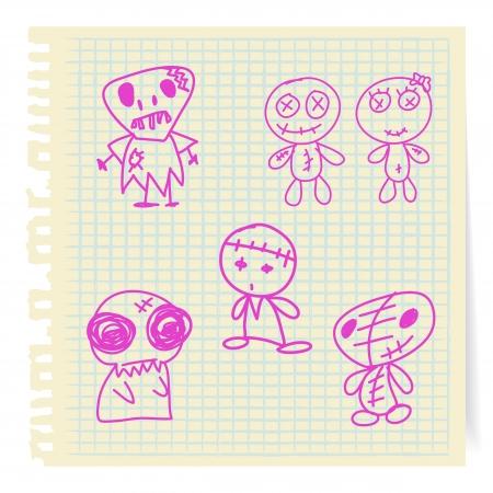 hand drawn cartoon: Halloween dibujos animados dibujados a mano sobre papel Vectores