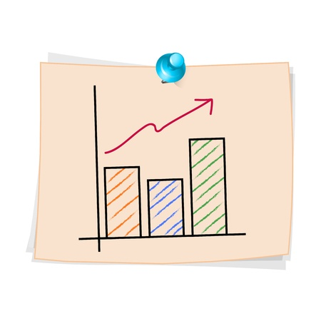 Hand draw Business graph cartoon on paper Note Stock Vector - 20932924