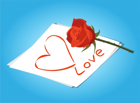 love letter and Red Roses Flowers vector Stock Vector - 20932941